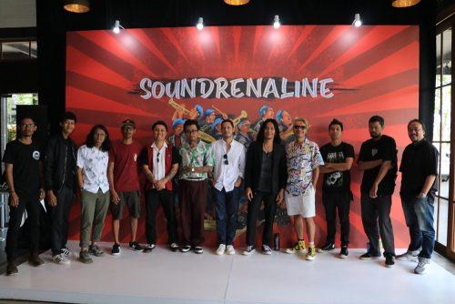 Seniman, dan Perwakilan Musisi yang akan tampil di ajang Soundrenaline 2019 berfoto bersama usai sesi presskonference. (5/9). Inimusik/Pran